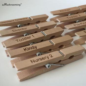 50 Uds. Pinzas de madera para ropa grandes personalizadas para jardines de infancia clips de foto de madera natural personalizados con nombre grabado