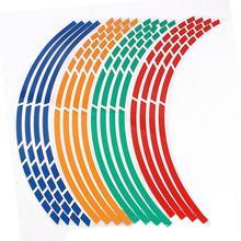 "17""18"" 16pcs Motorcycle Car Wheel Tire Stickers Reflective Rim Tape Motorbike Auto Reflective Sticker"