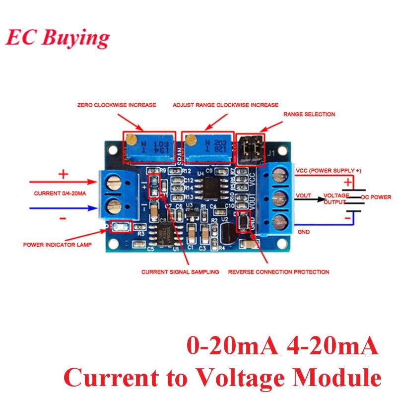 Преобразователь тока в напряжение от 0 до 20 мА/40 мА до 0-3,3 в 0-5 в 0-10 В, модуль преобразования сигнала 0-20 мА 4-20 мА, трансмиттер I/V