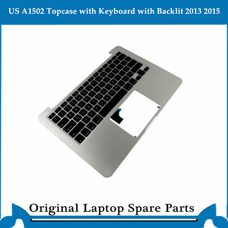 Original Top case for Macbook Pro Retina 13 inch A1502 Palmrest with Keyboard Backlit 13' US Sliver 2013 2015 image