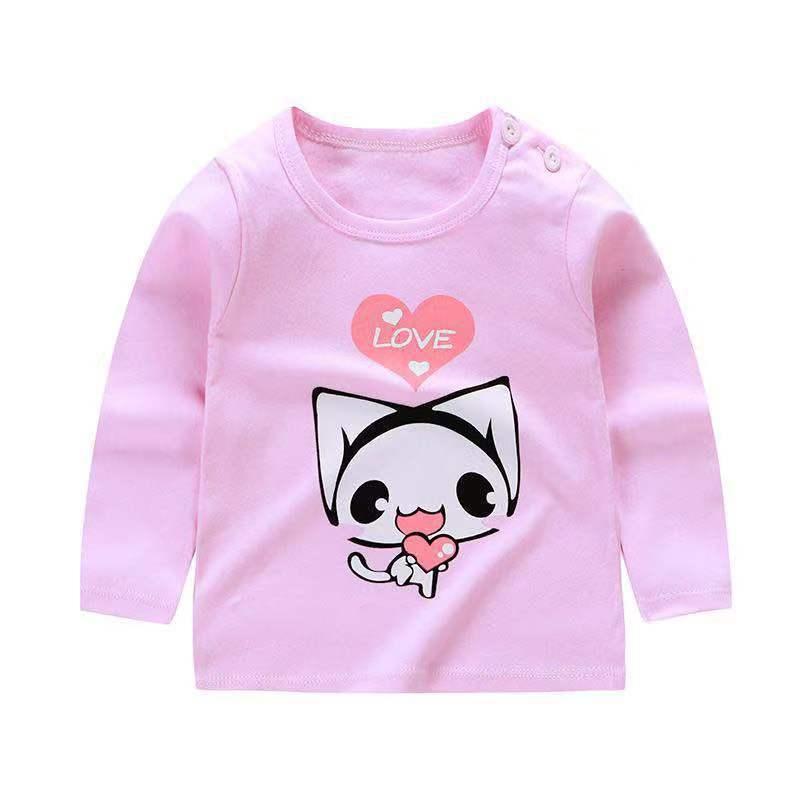 От 6 месяцев до 5 лет унисекс; сезон осень-зима; хлопковая футболка с длинными рукавами и героями мультфильмов; футболки для маленьких мальчиков и девочек; детская повседневная одежда; одежда с круглым вырезом - Цвет: Q55