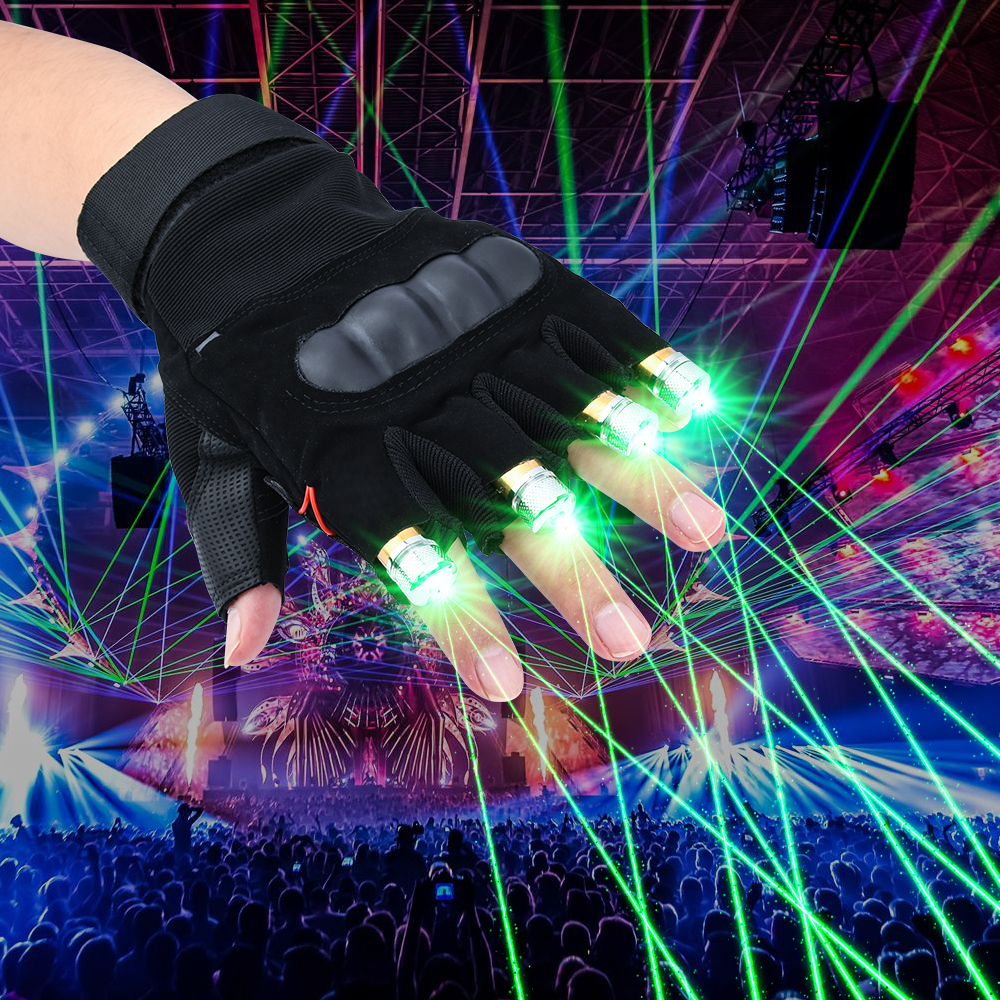 High Quality 4pcs Laser Gloves Green / Purple / Red Nightclub Bar Party Dance Singer Dance Props DJ Mechanical Gloves LED Light