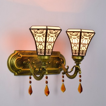 Arabian Style Artistic Creative Bedroom Bedside Wall Lamp Multi-Colored Glass Vintage Bar Aisle Double-Headed Crystal