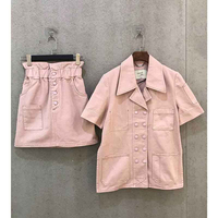 Cosmicchic 2020 Women Pink 2 Piece Set Double Breasted Short Sleeve Top Elastic High Waist Short Skirt Casual Tracksuit Suit