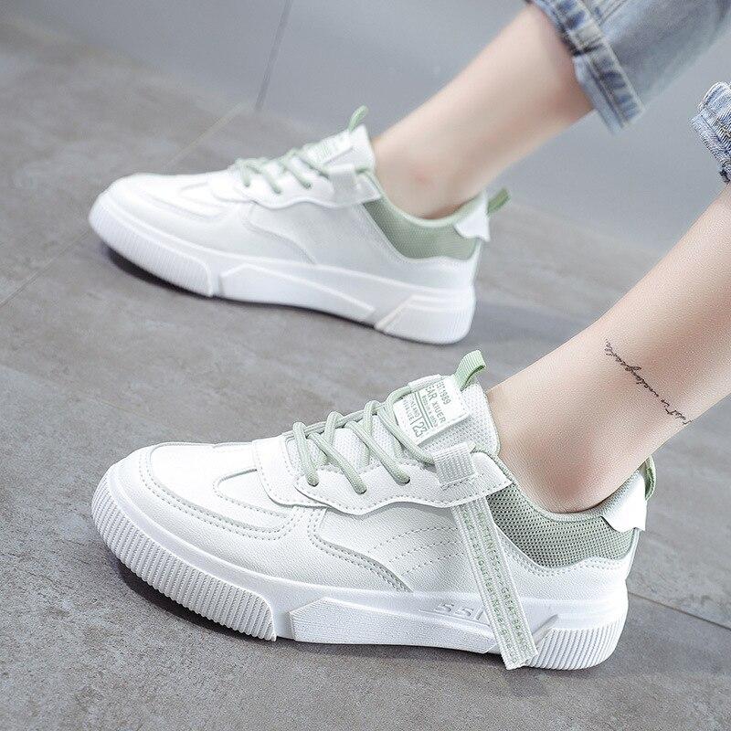 SWQZVT Summer Autumn Sneakers Women Breathable Flat Lace-up Women Vulcanize Shoes White Walking Leather Female Casual Shoes 2020 (1)