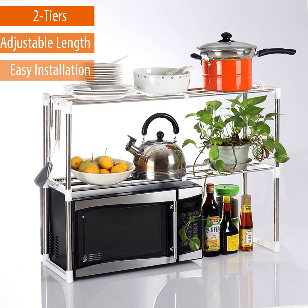 Stainless Steel Rack Kitchen Microwave Oven Storage Holder Shelf Standing Adjustable Multifunctional Home Bathroom Storage Rack