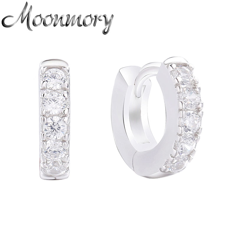 Moonmory 925 en argent Sterling Super petit Piercing boucles d'oreilles pour les femmes cristal Zircon polyvalent mode bijoux cadeaux de noël