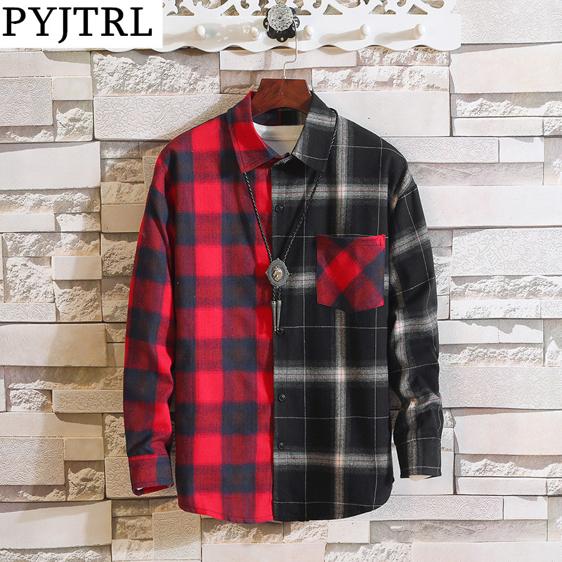 PYJTRL Vintage Plaid Shirts Men Women Autumn High Street Hip Hop Oversized Couple Shirt
