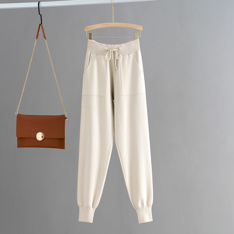 H391bca733e184dd9a6622e5300952045R - GIGOGOU Knitted High Waist Women Crop Harem Trousers Solid Peg Leg Fly Pants Casual Drawstring Winter Warm Workwear Carrot Pants