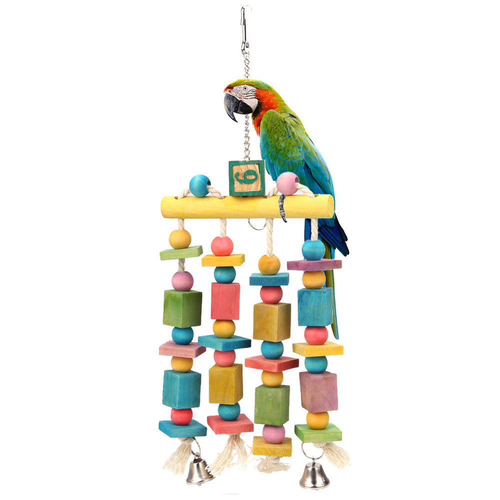 Supplies Standing Bird Toy Play Swing Colorful Wood Blocks Chew Bite Accessories Hanging Bells Non toxic