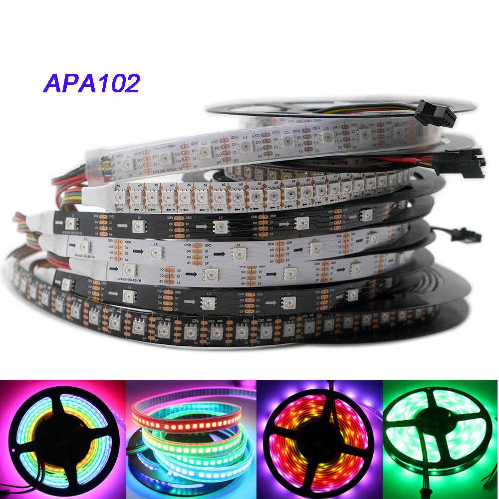 APA102 Strip 1 M/3 M/5 M 30/60/72/96/144 LED/Piksel /M APA102 Smart LED Pixel Strip data dan Jam Secara Terpisah DC5V IP30/IP65/IP67