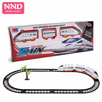 Niuniu Daddy Kids Train Toy Electric Train Track Car Alloy Simulation Train Model Electric Bullet Train Toy High Speed Rail image