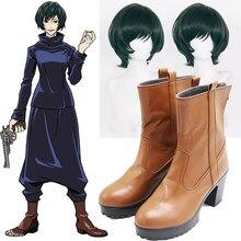 Anime jujutsu kaisen cosplay sapatos papel zenin mai marrom botas de salto médio sapatos de couro periférico verde escuro perucas de cabelo curto