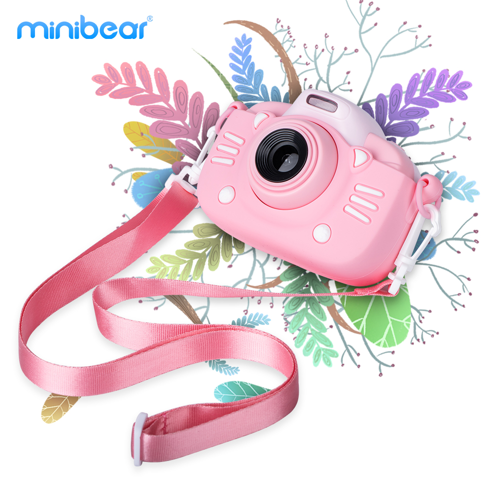 Children Digital Camera 30MP 2.4-inch IPS Screen 1080P HD Video Selfie Mini SLR Kid's Toy Camera for New Year's Gifts Minibear