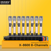 Wireless SystemX 8600 Professional Microphone 8 Channel VHF Professional 8 Handheld Microphone Stage Karaoke Wireless Microphone