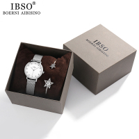 IBSO Women Quartz Watch with Crystal Bracelet Luxury Rose Gold Belt Ladies Bangle Round Wristwatch Jewelry Set Gift for Women