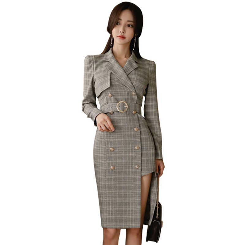Женские деловые костюмы, платье, осенняя офисная одежда, серая сетка, официальное платье-блейзер с длинным рукавом, необычное двубортное платье-костюм