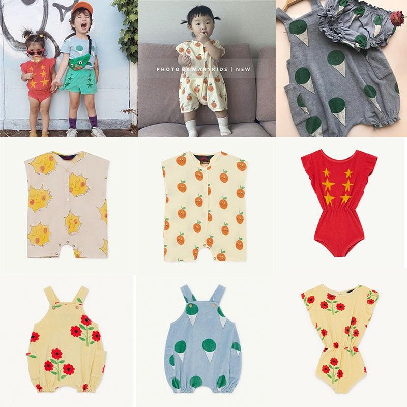 EnkeliBB 2020 TAO Baby Clothes Summer Kids Unisex Fashion Romper Toddler Ice Cream Orange Print Playsuit TAO Child Clothes Sets
