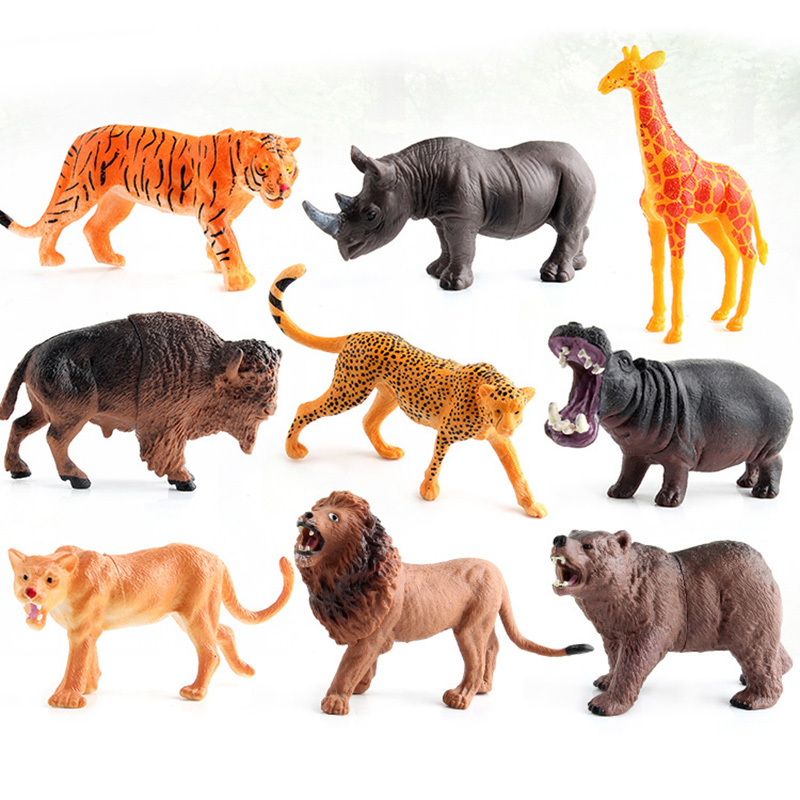 9 Kinds Hollow Animal Model Action Figure Wild Animal Action Figures Collection PVC Children Cognitive Toys