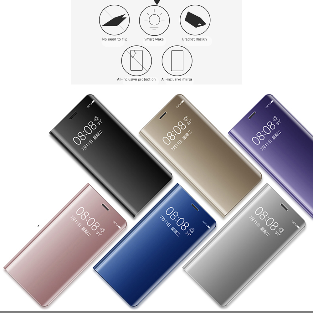 Mirror <font><b>Flip</b></font> Phone <font><b>Case</b></font> For Huawei <font><b>Honor</b></font> 10 <font><b>9</b></font> <font><b>Lite</b></font> V20 V10 8X Mate 30 20 10 P20 P10 P30 <font><b>Lite</b></font> Nova 5i Pro Stand Holder Cover <font><b>Case</b></font> image
