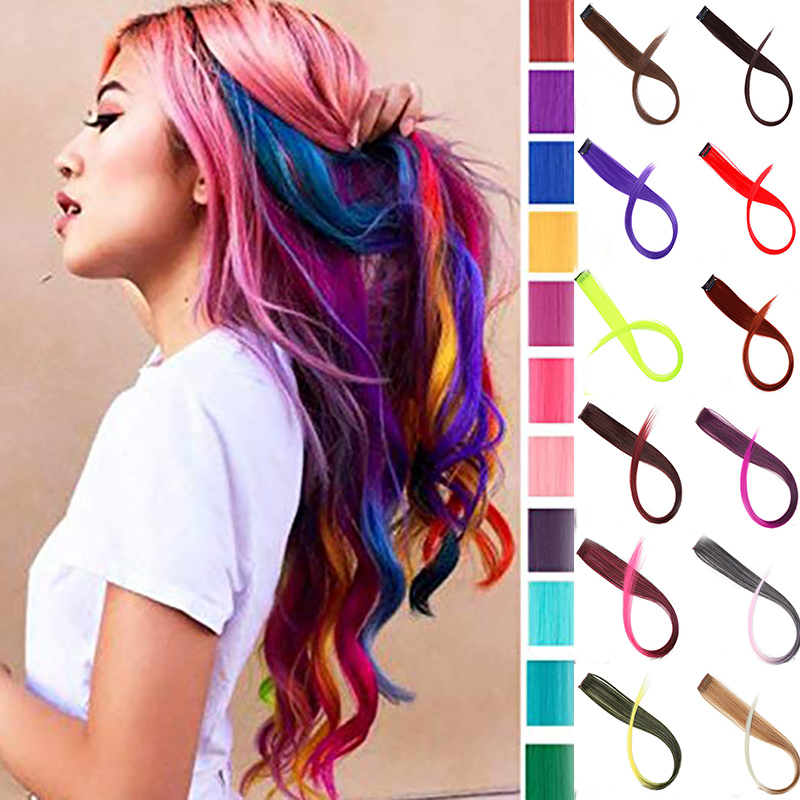 BUQI Long Straight False Color Hair Extensions Clip Highlight Rainbow Hair Streak Pink Synthetic Hair Strands On Clips