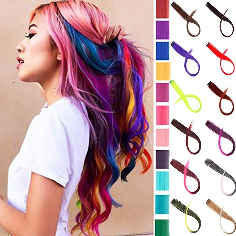 BUQI Long Straight False Color Hair Extensions Clip Highlight Rainbow Hair Streak Pink Synthetic Hair Strands On Clips