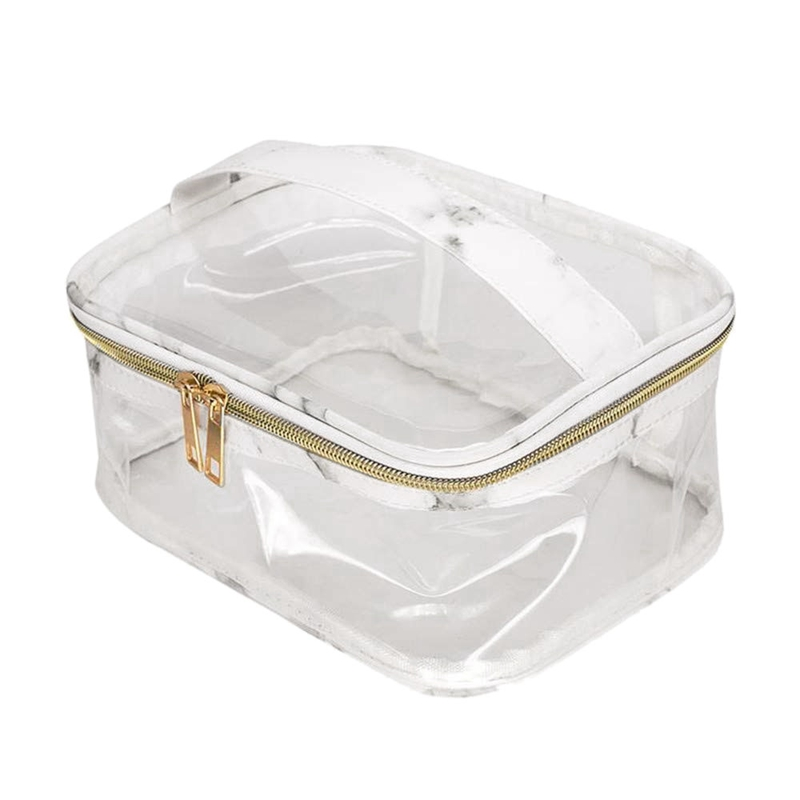 Marble Transparent Cosmetic Bag, Stylish Waterproof Makeup Case,Durable Large Zipper Opening Lipstick Toiletry Tote Suitcase Bea
