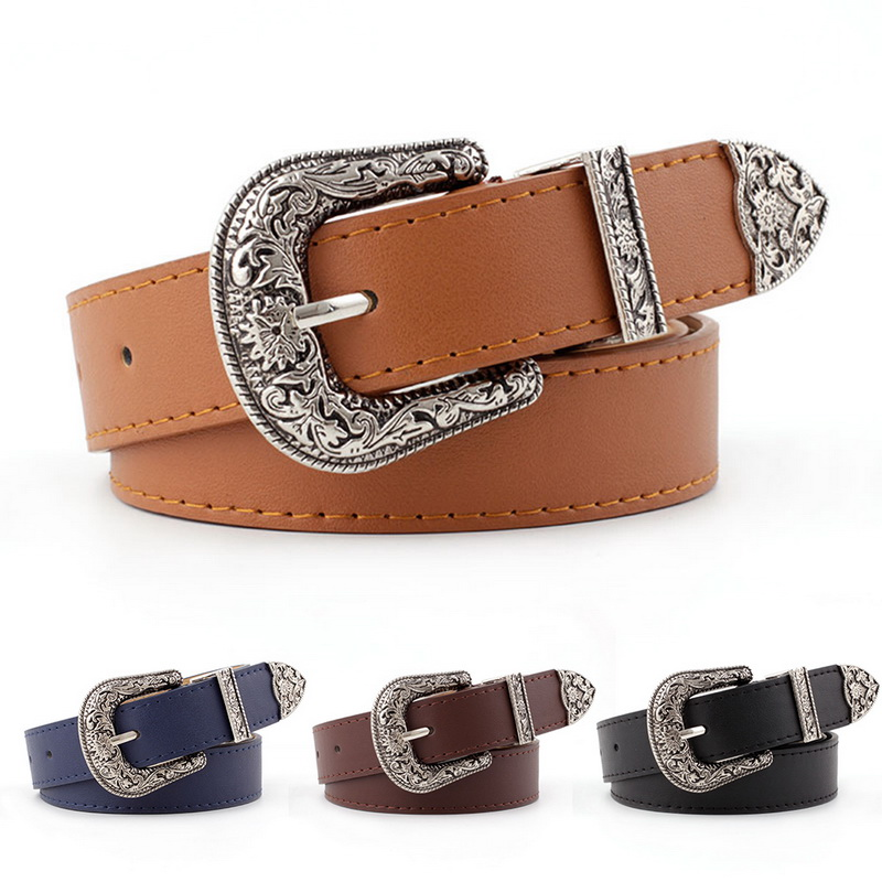 SHUJIN Hup Women Black Leather Western Cowgirl Waist Belt Metal Buckle Waistband New Hot Belts For Women Luxury Designer Belts