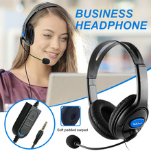 3.5mm Wired HD Voice Business Headphones With Microphone Hands-Free Call Rechargeable Office Headset For PC/Laptop/Cellphone