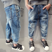 Warm Boys Jeans Winter Thick Jean Teenager Boys Blue Pantalon Casual Pants broken hole Pant Denim Trousers For Toddler Boy Kids