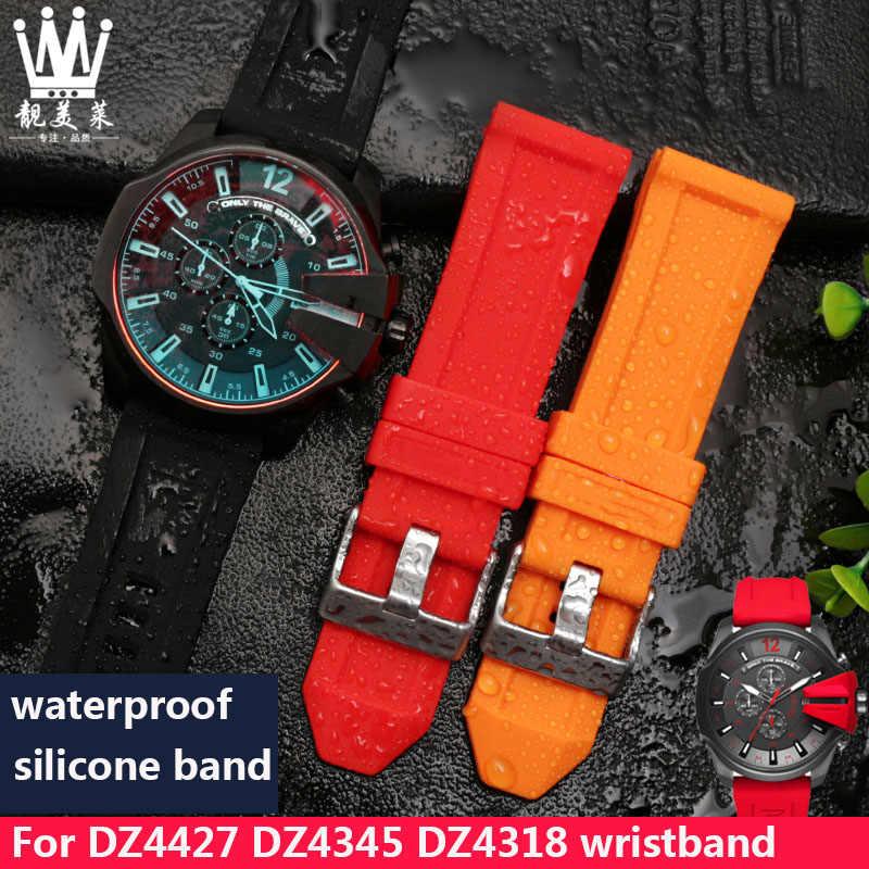 سيليكون مربط الساعة ل الديزل DZ4427 DZ4345 DZ4318 DZ7370 DZ7333 DZ7317 DZT2006 حزام ساعة اليد 24 مللي متر 26 مللي متر للماء حزام ساعة اليد