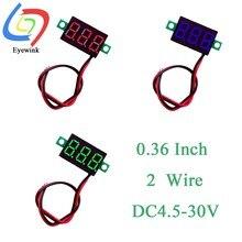 0.36 Polegada 2 fio 0.36 dc dc 4.5-30v 3 dígitos display voltímetro mini led digital painel volt medidor de tensão instrumento vermelho/azul/verde