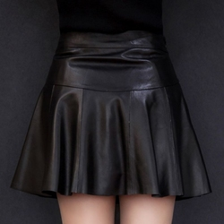 New Women Black Ruffles Slim Mini Skirts Genuine Leather Sexy Party A-Line Sheepskin Real Leather Skirts Solid Oversize Clothes
