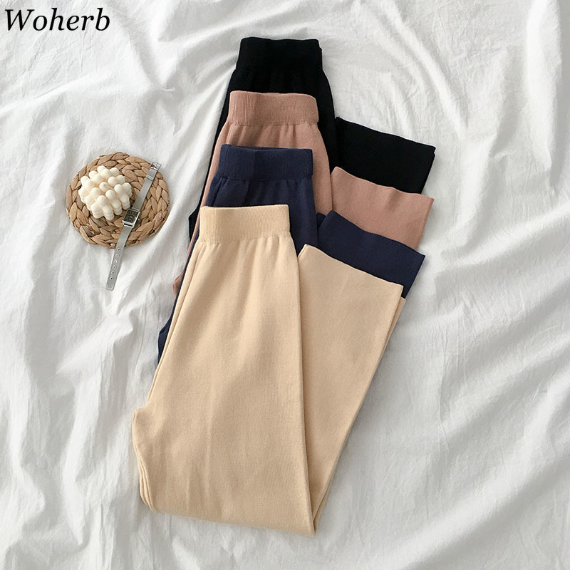 Woherb 2019 New Modis Autumn Knitted   Wide     Leg     Pants   Women Casual Solid High Waist Sweatpants Korean Winter   Pants   Joggers 23020
