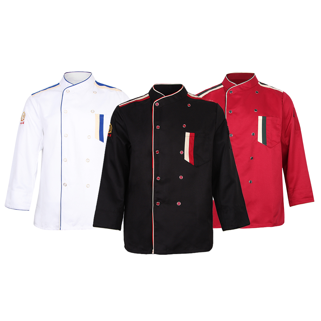 Unisex Chef Long Sleeve Coat Jacket  Restaurant Hotel Uniform Cook Waiter With Pocket Food Survice Worker Uniform Clothes