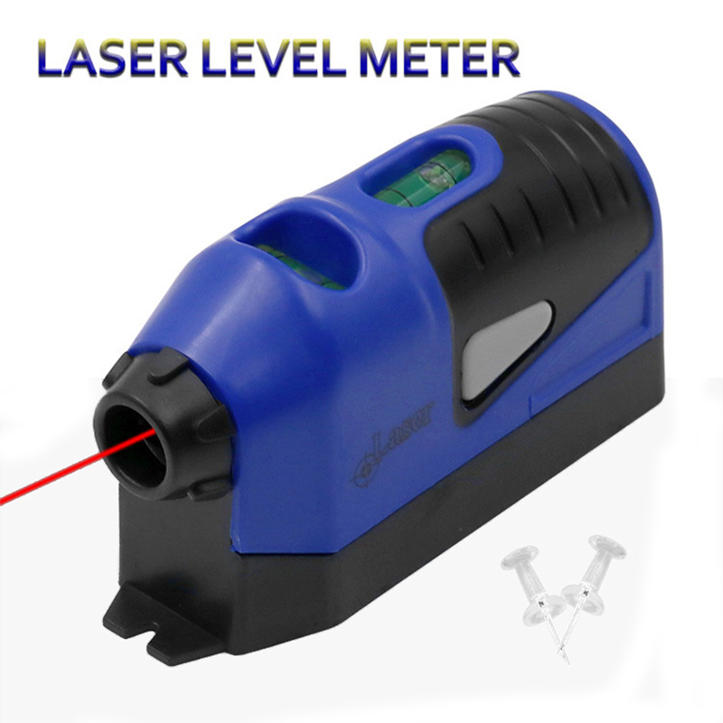 1Pcs Laser Level Mini Vertical Spirit Level Tool Laser Straight Laser Guided Level Line Measurement Gauge Tool Blue/Yellow