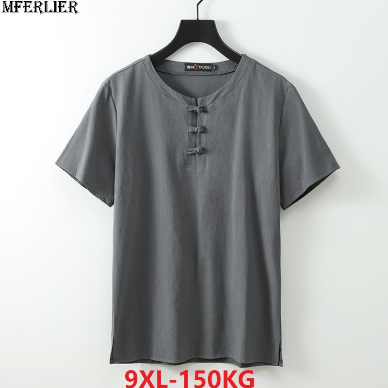 Summer Plus Size 7XL 8XL 9XL 68 70 Linen T-shirt Men Short Sleeve Tees Chinese Style Tang Suit Oversize Vintage Tshirt Navy Blue