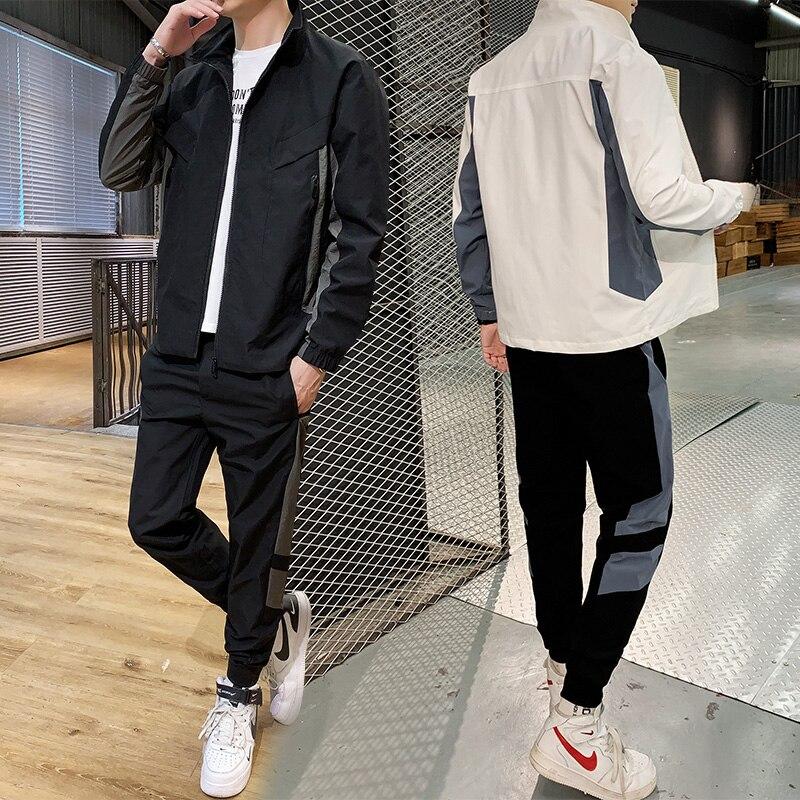 Men's Set Fashion 2020 Men Sweatsuit Hip Hop Fitness Clothing Two Pieces Sweatshirt + Sweatpant Male Tracksuit Streetwear