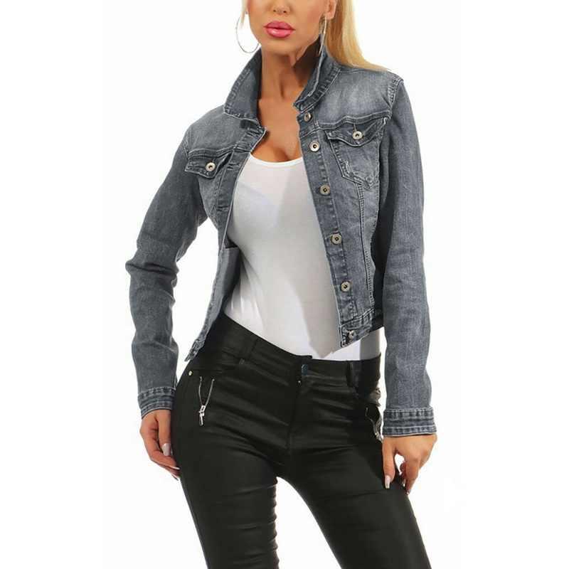 Oeak Wanita Denim Berkesan Lusuh Bomber Jaket Jeans Dasar Button Wanita Kasual Vintage Pakaian Luar Musim Gugur Wanita Fashion Mantel Streetwear