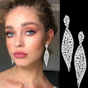 Image 1 - GODKI 2020 New Leaf Charms Earring For Women Wedding DUBAIStatement Earring for Women Gold Cubic Zircon Earrings Jewelry