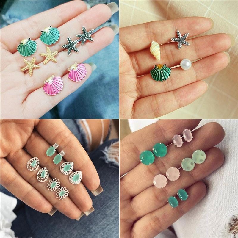 Vagzeb 2019 New Summer Jewelry Cute Shell Starfish Stud Earrings Set For Women Colorful Geometric Stone Female Earrings