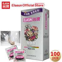 Elasun 100 Uds Ultra delgado gran cantidad de aceite condón sexual producto anticonceptivo de goma Natural manga de pene condones para hombres