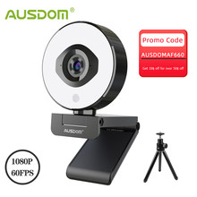AUSDOM AF660 FHD 1080P 60FPS Webcam Autofocus 75 Degree Stream Cam With Adjustable Right Light Free Tripod For Live Streaming