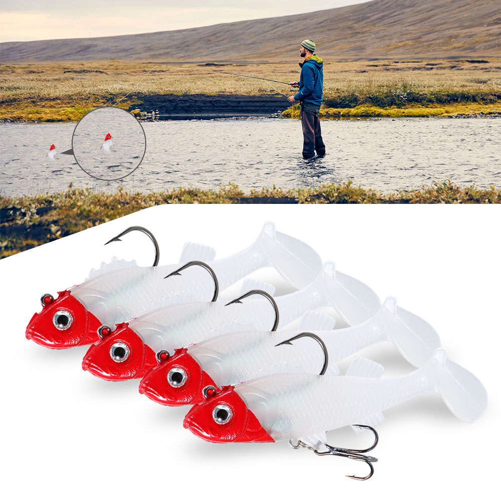 5pcs Hook Fish Lures Set 15g 8cm Flexible Soft Lure Swimbaits Artificial Bait Silicone Fishing Lures