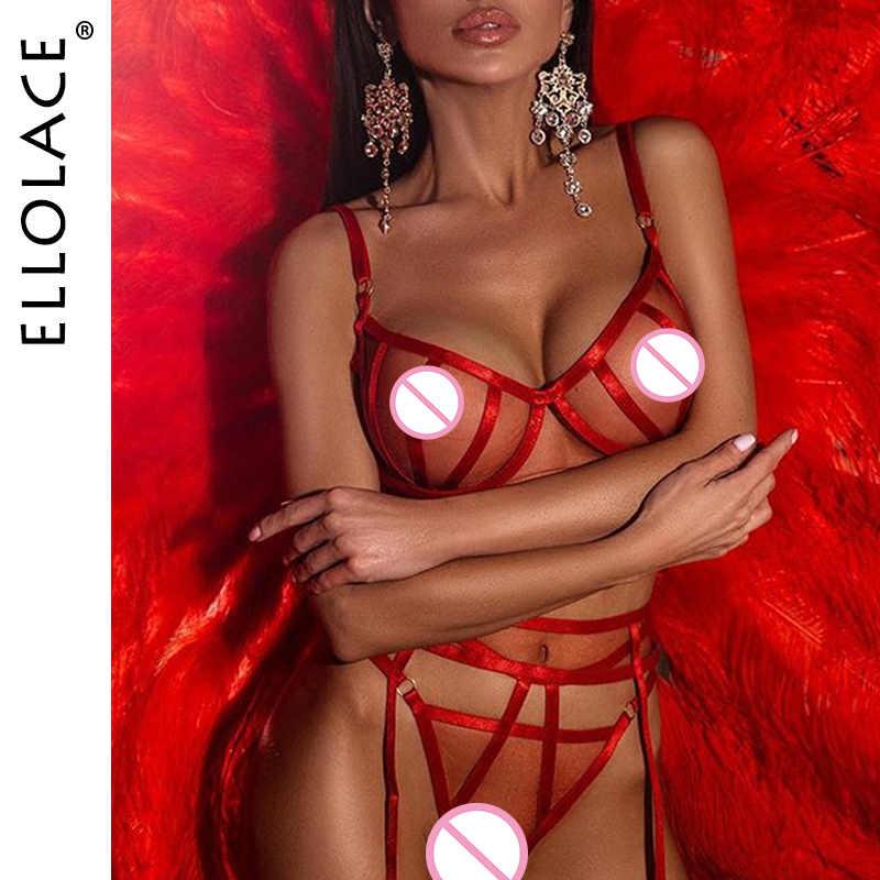 Ellolace, сексуальное Сетчатое нижнее белье, комплект женского нижнего белья, прозрачный бюстгальтер с мягкой чашкой и глубоким v-образным вырезом, сексуальный бюстгальтер пуш-ап, комплект с рисунком, облегающее белье