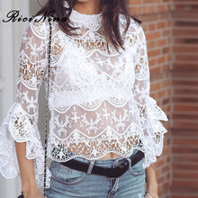 RICININA New 2019 T Shirt Women O-Neck Long Sleeve Hollow Out Lace Solid white Tshirts Tops Summer Sexy Casual T-Shirt