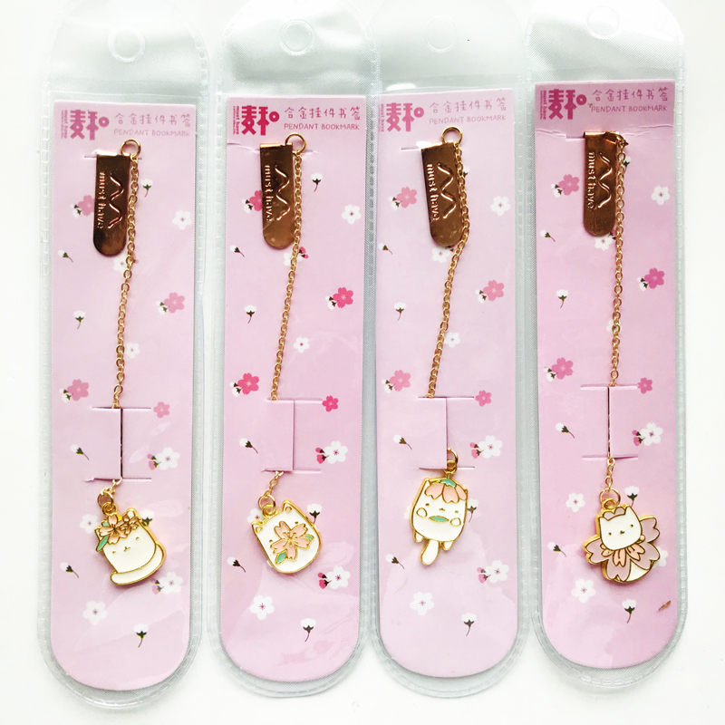 Cute Cat & Sakura Golden Color Metal Chain Pendant Bookmark Marker Of Page School Office Supply Student Stationery