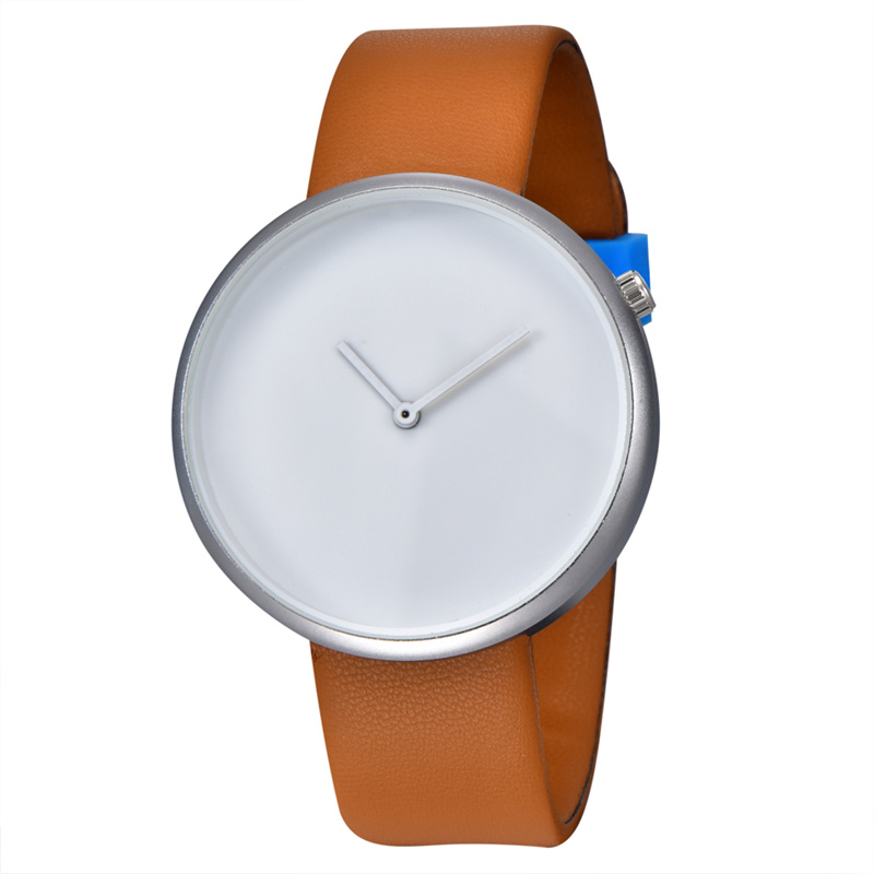 Custom Logo Watch Minimalist Men Watches Fashion Creative Wristwatch Leather Band Quartz Watches Unisex Watches Ultra Thin Watch