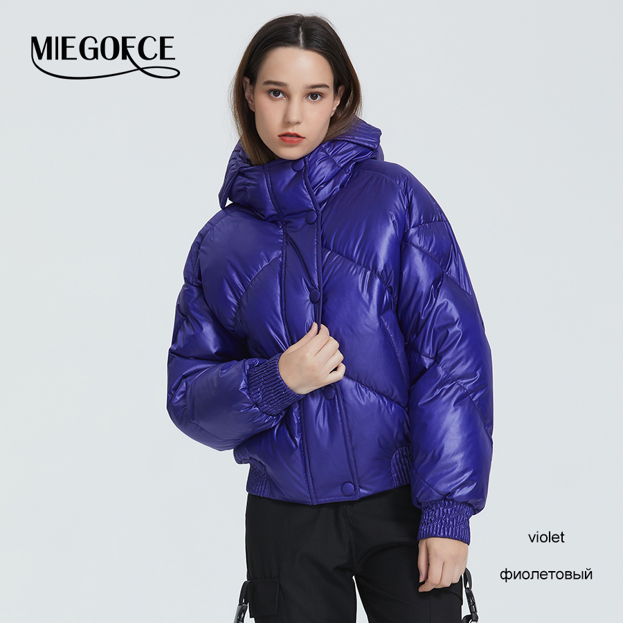 MIEGOFCE 2020 New Design Winter Coat Women's Jacket Insulated Cut Waist Length With Pockets Casual Parka Stand Collar Hooded 12