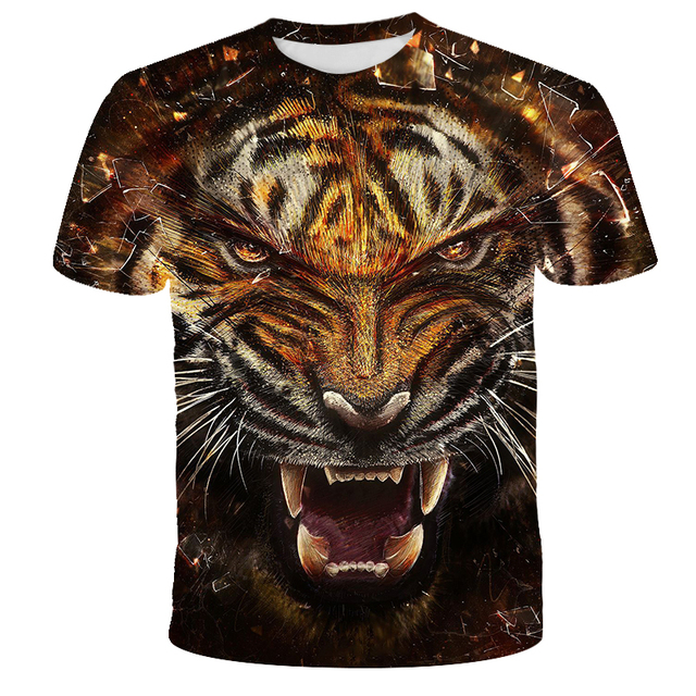 New Fashion t-shirts 3D Prints Tiger Lions Fashion Harajuku 3D Short Sleeve t shirt Summer O-Neck Style t-shirt Hip Hop Tops